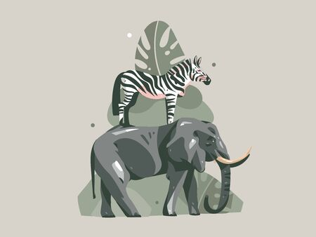 Hand drawn vector abstract cartoon modern graphic African Safari Nature concept collage illustrations print with zebra and elephant animals in wild and tropical palm leaves isolated color background