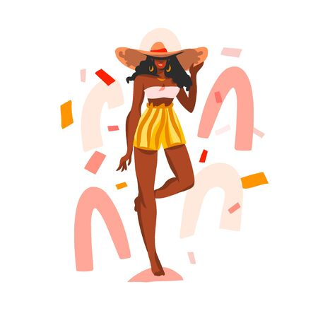 Hand drawn vector abstract stock flat graphic illustration with young happy black african american, beauty female in swimsuit and beach hat isolated on white collage shape background