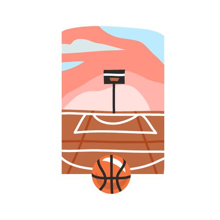 Hand drawn vector abstract stock flat graphic illustration with sundown beach scene of street basketball court and ball isolated on white background