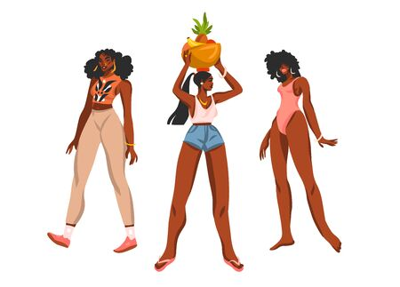 Hand drawn flat vector abstract stock graphic illustration collection set with young happy positive black african american, beauty females in summer outfits isolated on white background Çizim