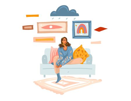 Hand drawn vector abstract stock graphic illustration with young melancholy female at home sitting on sofa and dreaming isolated on white background.