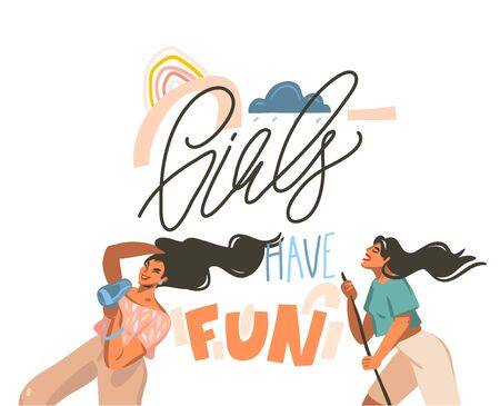 Hand drawn vector abstract flat graphic illustration with young happy dancing positive females with Girls have fun,handwritten calligraphy text isolated on pastel collage background. Çizim