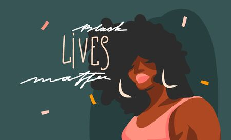 Hand drawn vector abstract stock graphic illustration with young black afro american beauty female and Black lives matter lettering isolated on color collage shape background.