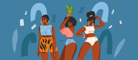 Hand drawn vector abstract stock flat graphic illustration with young happy african american beauty females group isolated on color collage shape background.