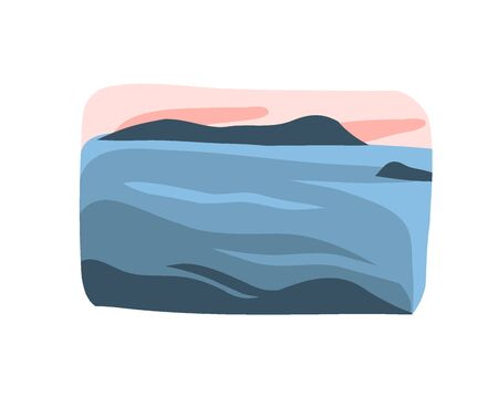 Hand drawn vector abstract stock flat graphic illustration with sundown beach scene and ocean waves isolated on white background.