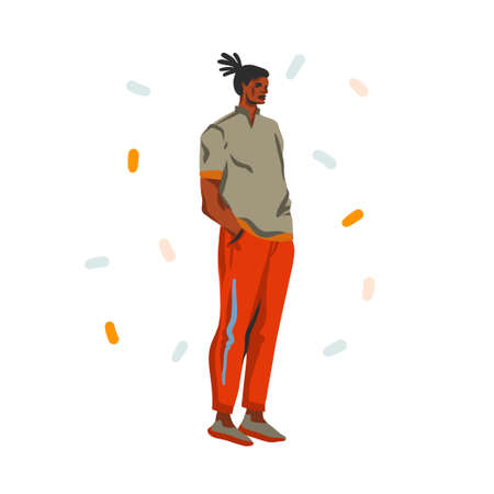 Hand drawn vector abstract stock graphic illustration with young happy black african american beauty man, in fashion outfit isolated on white background Çizim