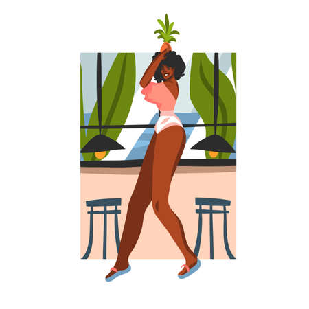 Hand drawn vector abstract stock graphic illustration with young happy black afro american beauty female, and pineapple fruit on his head in beach cafe scene isolated on white background