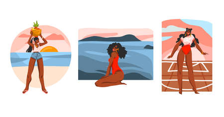 Hand drawn vector abstract stock flat graphic illustration collection set with young happy black afro american beauty females ,in everyday routine scenes creator isolated on white background