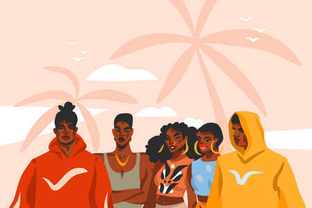 Hand drawn vector abstract stock flat graphic illustration with young black afro american beauty people group in fashion outfit on sundown view scene on the beach isolated on pink pastel background Çizim