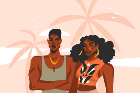 Hand drawn vector abstract stock flat graphic illustration with young ,happy black afro american beauty couple in fashion outfit on sundown view scene on the beach isolated on pink pastel background