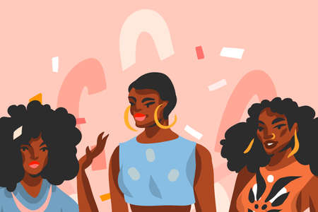 Hand drawn vector abstract stock flat graphic illustration with young ,happy black afro american beauty women friends group isolated on pink pastel collage shape background