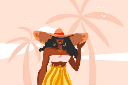 Hand drawn vector abstract stock flat graphic illustration with young ,happy black afro american beauty woman in swimsuit on sundown view scene on the beach isolated on pink pastel background