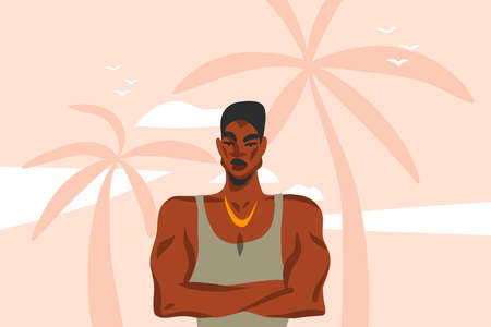 Hand drawn vector abstract stock graphic illustration with young happy black african american beauty man, in fashion outfit on palm tree beach scene isolated on pink pastel background.