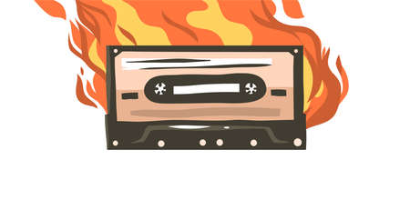 Hand drawn vector abstract stock flat graphic illustration with burning retro casette for media player drawing isolated on white color background