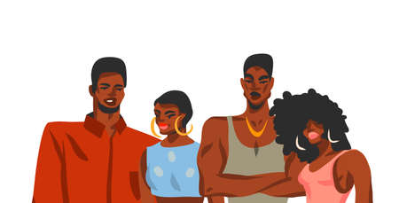 Hand drawn vector abstract stock flat graphic illustration with young happy african american beauty students women and men friends group isolated on white background