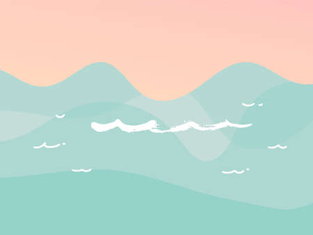 Hand drawn vector stock abstract graphic illustration with ocean waves sea shore scene with nobody and Copy Space place for your typography isolated on background