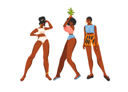 Hand drawn flat vector abstract stock graphic illustration collection set with young happy black afro american, beauty females in swimsuit and beach hat isolated on white background.