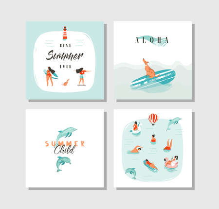 Hand drawn vector abstract cartoon summer time fun cards collection set template with happy swimming people in blue ocean water,dog on skateboard and typography quote isolated on white background
