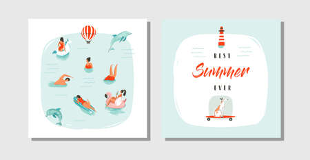 Hand drawn vector abstract cartoon summer time fun cards collection set template with happy swimming people in blue ocean water,dog on skateboard and typography quote Best Summer ever isolated Çizim