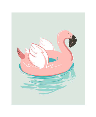 Hand drawn vector abstract cartoon summer time fun illustration with pink flamingo buoy float circle isolated on blue background