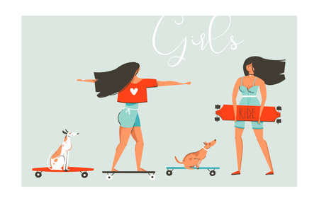 Hand drawn vector cartoon summer time fun illustrations collection set with skater girls on skateboards and theirs dogs riding on long board isolated on white background.