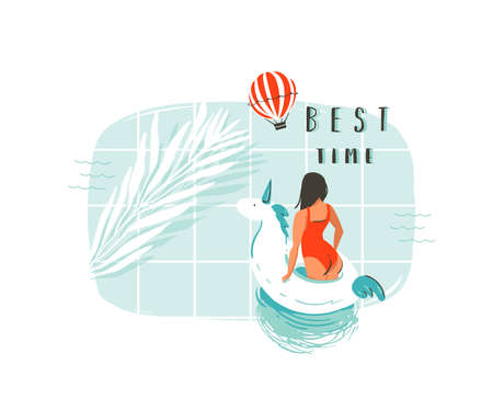 Hand drawn vector abstract summer time fun cartoon illustration with young girl,unicorn float buoy ring,tropical palm leaf in swimming pool.Best time modern typography isolated on white background.
