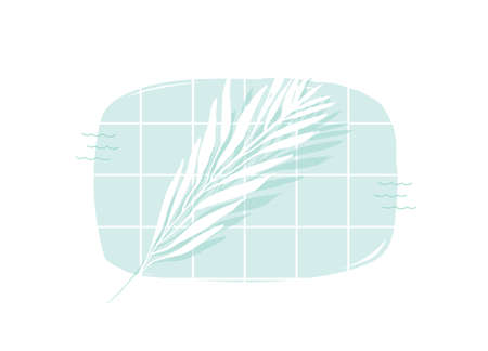 Hand drawn vector abstract cartoon summer time swimming pool top view cartoon illustration with tropical palm leaves isolated on white background. Çizim
