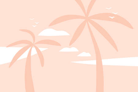 Hand drawn vector abstract stock flat graphic illustration with sundown view scene on the beach and palm trees isolated on pink pastel background. Çizim
