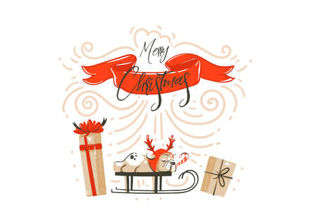 Hand drawn vector abstract fun Merry Christmas time cartoon illustration card design with surprise gift boxes,pet dog on sleigh,red ribbon and modern xmas calligraphy isolated on white background.