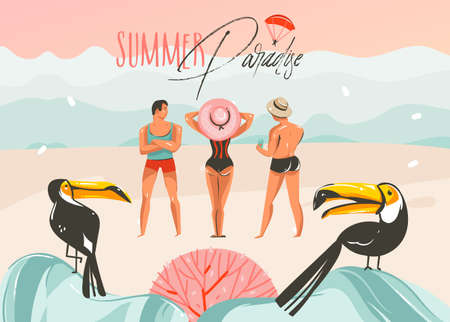 Hand drawn vector abstract cartoon summer time graphic illustrations art template background with ocean beach landscape,pink sunset,toucan birds and group of people with Summer Paradise typography.