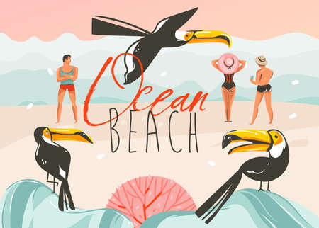 Hand drawn vector abstract cartoon summer time graphic illustrations art template background with ocean beach landscape,pink sunset,toucan birds and group of people with Ocean Beach typography.