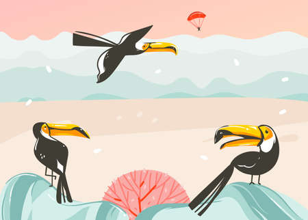 Hand drawn vector abstract cartoon summer time graphic illustrations art template background with ocean beach landscape,pink sunset,tropical toucan birds and copy space place for your text.