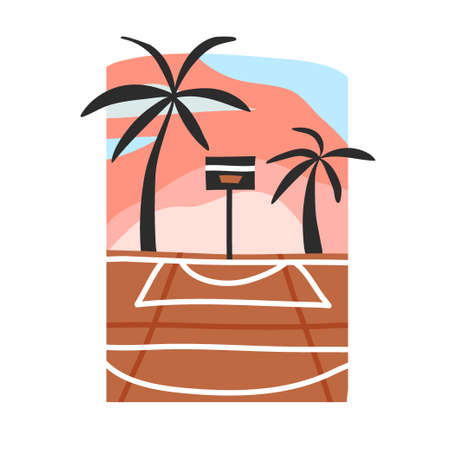 Hand drawn vector abstract stock flat graphic illustration with sundown beach scene of street basketball court isolated on white background.
