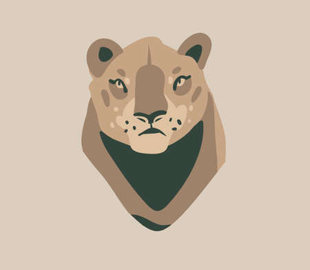 Hand drawn flat vector stock abstract graphic illustration with African wild lioness head cartoon animal design isolated on background