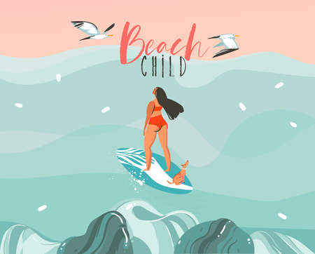 Hand drawn vector stock abstract graphic illustration with a surfer girl surfing with a dog and seagulls isolated on ocean sundown wave landscape scene background