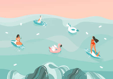 Hand drawn vector stock abstract graphic illustration with a funny sunbathing family people group in ocean waves landscape,swimming and surfing isolated on colour background Иллюстрация
