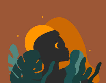 Hand drawn vector abstract stock graphic illustration with young black african american beauty people silhouette portraits ,night tribal african freedom concept isolated on color background Иллюстрация