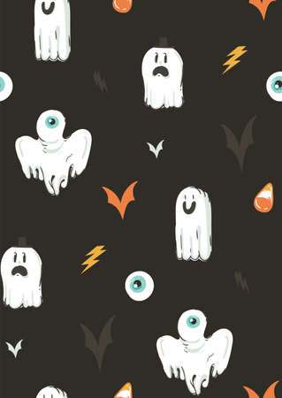 Hand drawn vector abstract cartoon Happy Halloween illustrations collection seamless pattern with different funny ghosts decoration elements isolated on black background