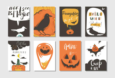 Hand drawn vector abstract cartoon Happy Halloween illustrations party posters and collection cards set with ravens,bats,pumpkins and modern calligraphy isolated on white background,