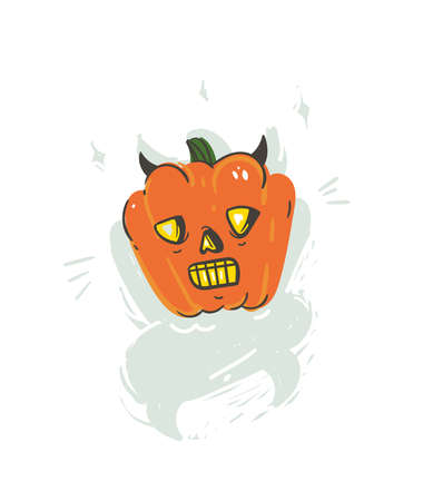 Hand drawn vector abstract cartoon Happy Halloween illustration with pumpkin horned lantern monster isolated on white background.