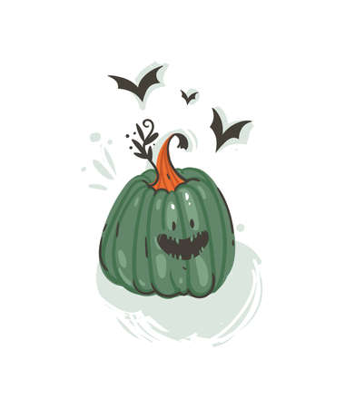 Hand drawn vector abstract cartoon Happy Halloween illustration with pumpkin lantern monster isolated on white background.
