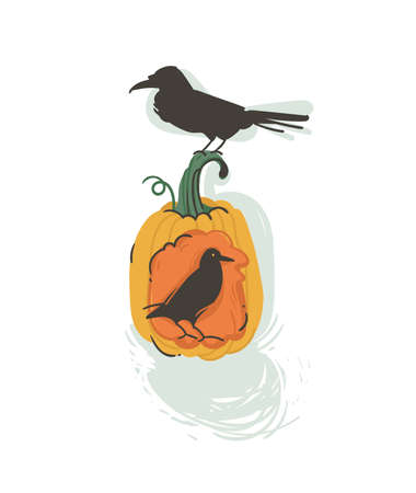 Hand drawn vector abstract cartoon Happy Halloween illustration with pumpkin latern and ravens isolated on white background, Ilustracja