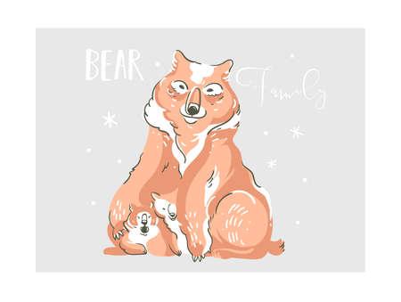 Hand drawn vector abstract cartoon wildlife family bears illustration isolated on grey background