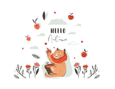 Hand drawn vector abstract greeting cartoon autumn illustration set with cute cat character collected apple harvest with berries,leaves,branch and typography Hello autumn isolated on white background. Иллюстрация