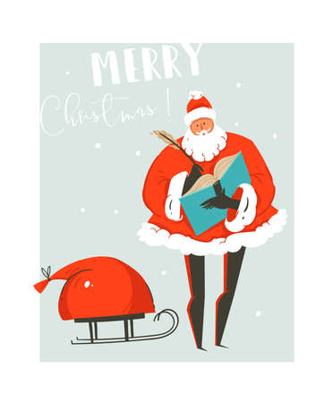 Hand drawn vector abstract fun Merry Christmas time illustration greeting card with Santa Claus and bag of many surprise gifts on sleigh isolated on blue background