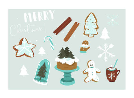 Hand drawn vector abstract fun Merry Christmas time cartoon illustration collection set with many decoration elements isolated on blue background Иллюстрация