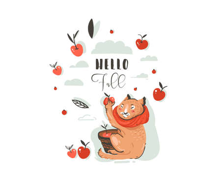 Hand drawn vector abstract greeting cartoon autumn illustration set with cute cat character collected apple harvest with berries,leaves,branch and typography Hello Fall isolated on white background.