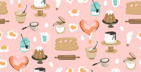 Hand drawn vector abstract modern cartoon cooking time fun illustrations icons seamless pattern with cooking equipment,cakes and food isolated on pink pastel background