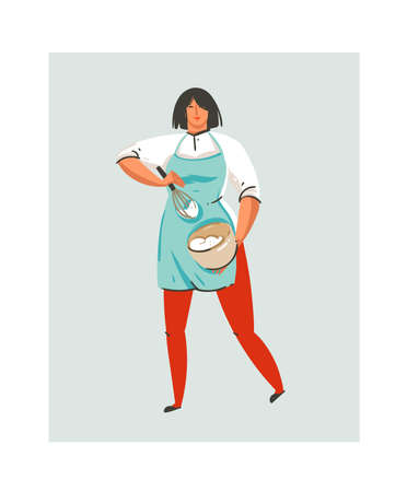 Hand drawn vector abstract modern cartoon cooking time fun illustrations icon with cooking chef woman in blue apron preparing whipped cream in pot isolated on white background