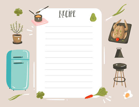 Hand drawn vector abstract modern cartoon cooking studio illustrations recipe card planner templete with food,vegetables and handwritten calligraphy isolated on white background